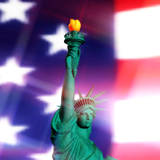 """3D Rendering of the Statue of Liberty"" stock image"