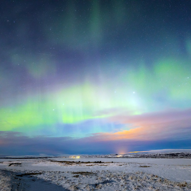 """Aurora Borealis Northern Light Iceland"" stock image"