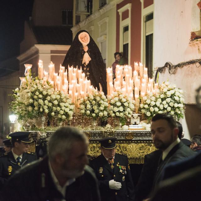 """Badajoz, Spain - March 25, 2016: Easter week (Semana Santa), Nazarene..."" stock image"