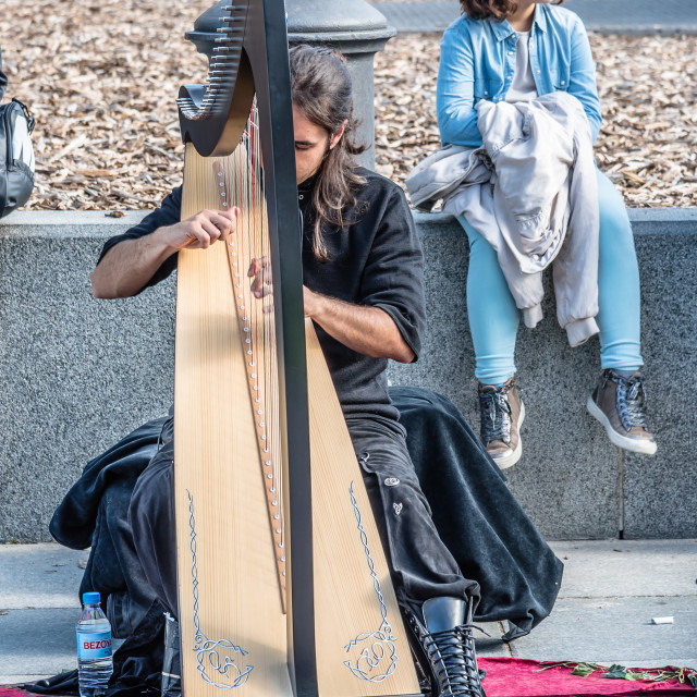 """Street musician playing the harp"" stock image"
