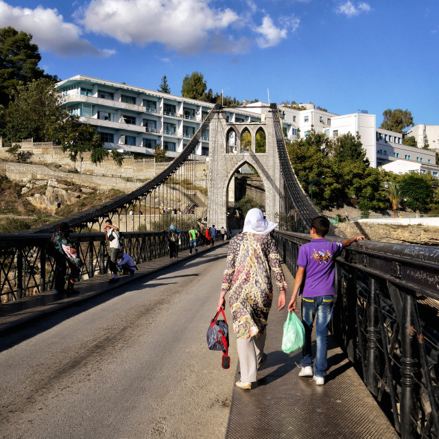 """""""mother and son walking on the bridge"""" stock image"""