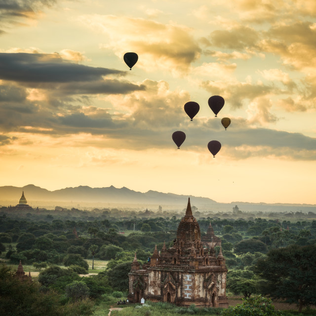 """Sunrise over Bagan"" stock image"