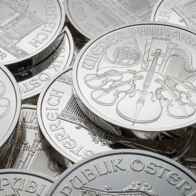 """""""Pile of silver coins"""" stock image"""