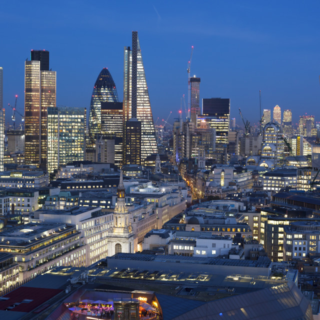 """""""Financial district of London at dusk, England."""" stock image"""