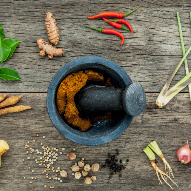 """""""Assortment of Thai food Cooking ingredients and spice red curry paste..."""" stock image"""