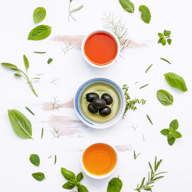 """""""Different sorts of cooking oils. Olive oil flavored ,spice oils and sesame..."""" stock image"""