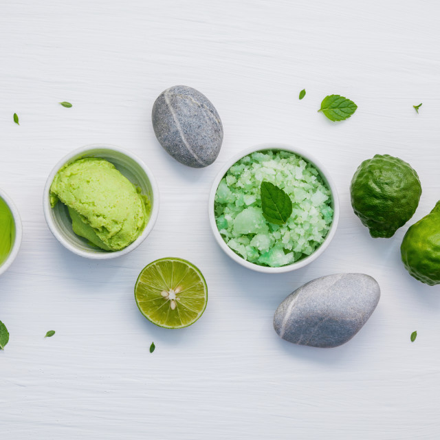 """""""Homemade skin care and body scrubs with green natural ingredients aloe vera..."""" stock image"""