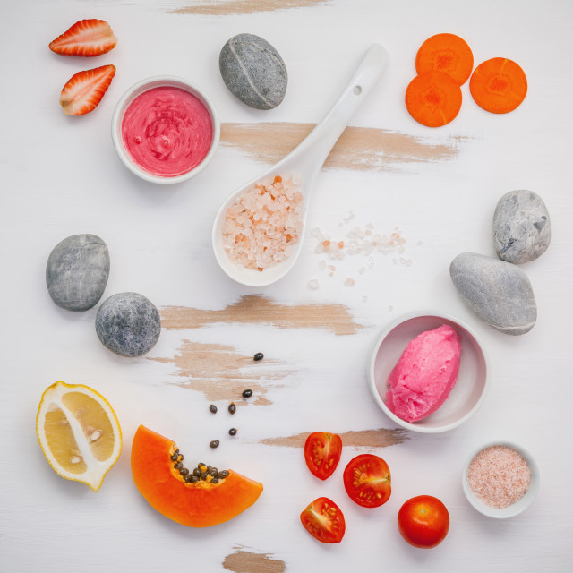 """""""Homemade skin care and body scrubs with red natural ingredients strawberry ,..."""" stock image"""