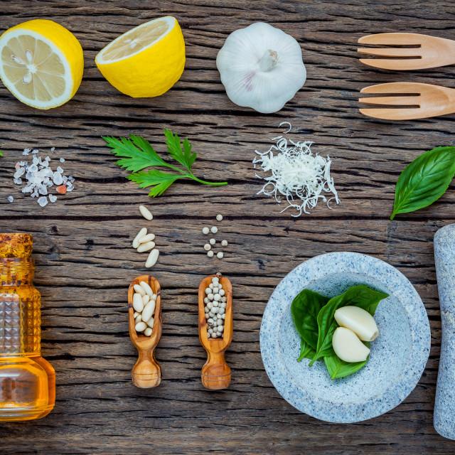 """The ingredients for homemade pesto sauce. Various herbs basil, parmesan..."" stock image"