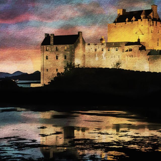 """""""Eilean Donan Castle Watercolour Effect."""" stock image"""