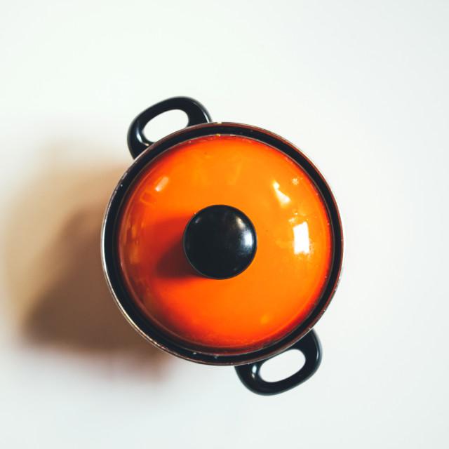 """""""Orange Cooking Pot"""" stock image"""