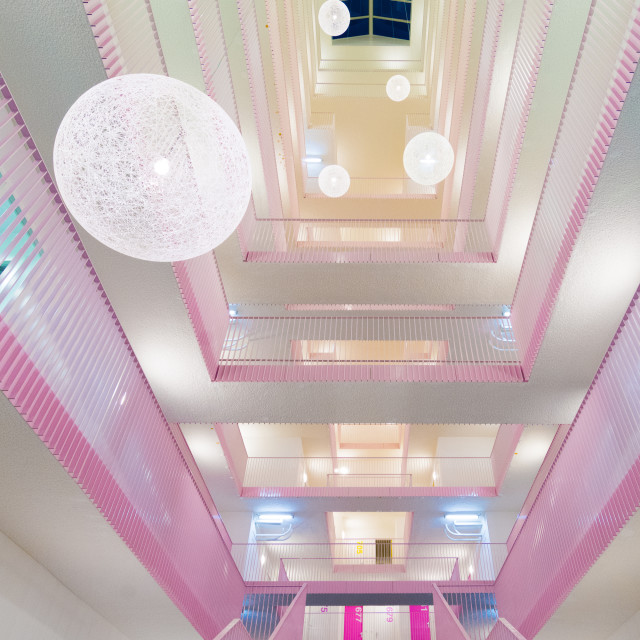 """The pink atrium"" stock image"