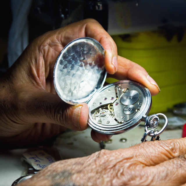 """details in old Watchman's work"" stock image"