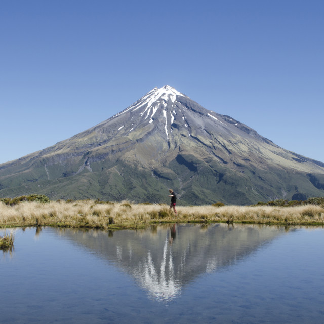 """Taranaki Reflected"" stock image"