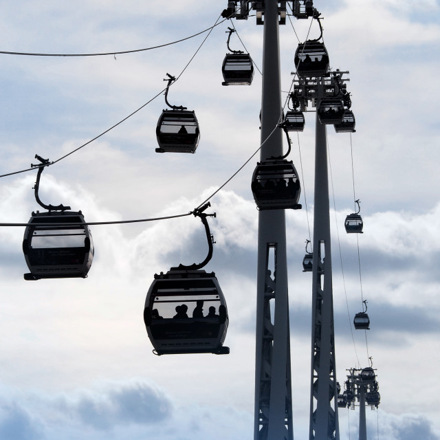 """""""The Emirates Air Line Cable Car."""" stock image"""