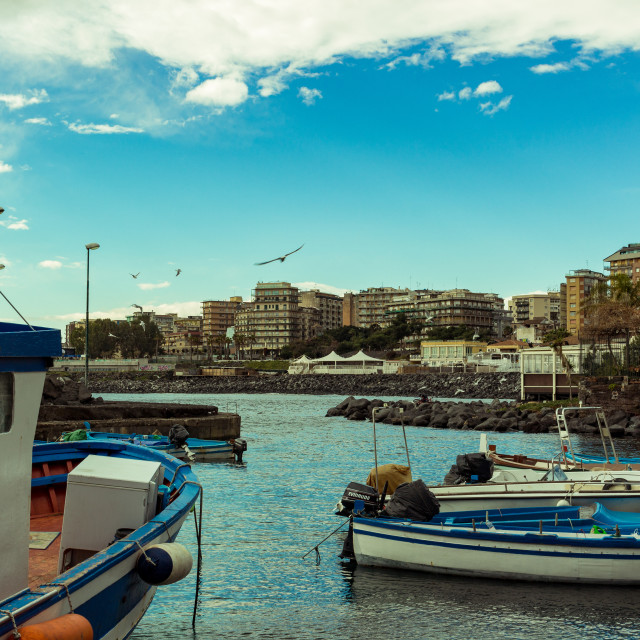 """""""Small boats anchored in Sicily, Italy."""" stock image"""