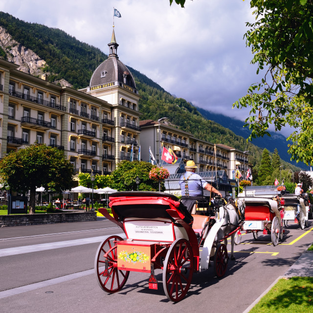 """Interlaken - Swiss Tourist Town. Main Street with Grand Hotel Victoria."" stock image"