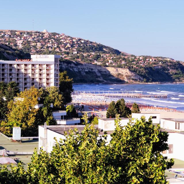 """Albena - Bulgarian Resort. Balchik in the Background."" stock image"