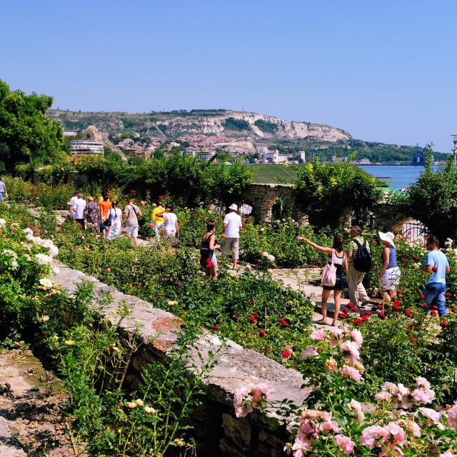 """Balchik, Bulgaria: Tourists on an Excursion in the Botanical Garden"" stock image"