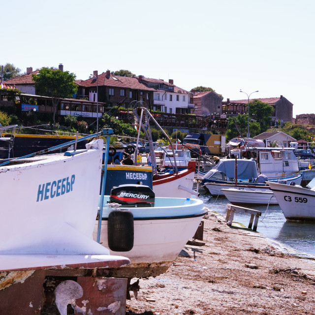 """Boats in Nessebar, Bulgaria"" stock image"