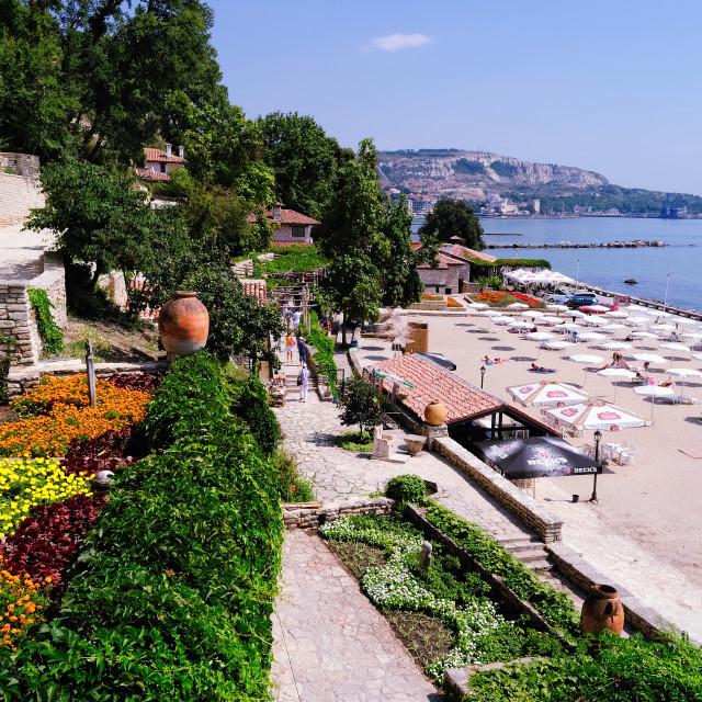 """Balchik, Bulgaria. View of the Beach from Botanical Garden"" stock image"