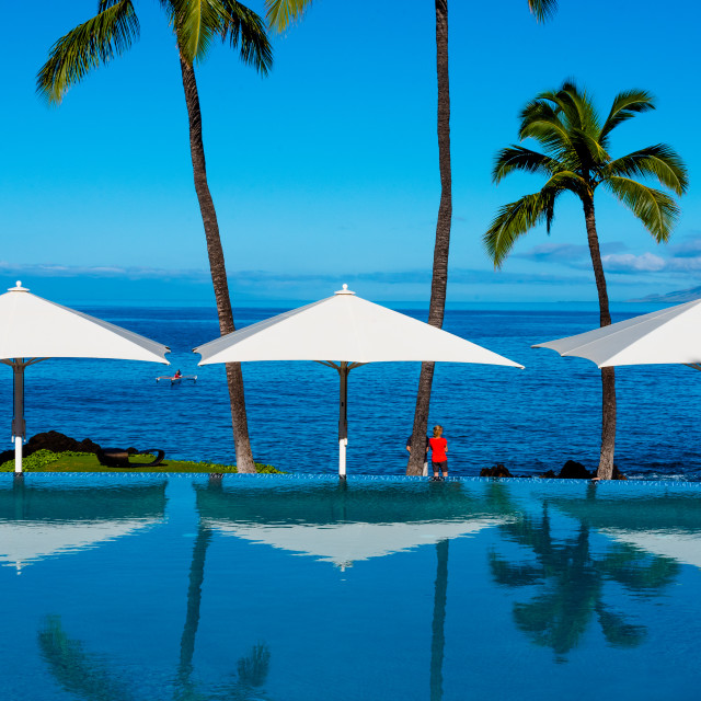 """Infinity Pool by the Ocean"" stock image"