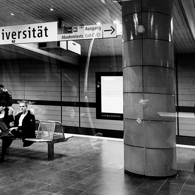 """Munich, Germany - Subway Universitaet station night time"" stock image"