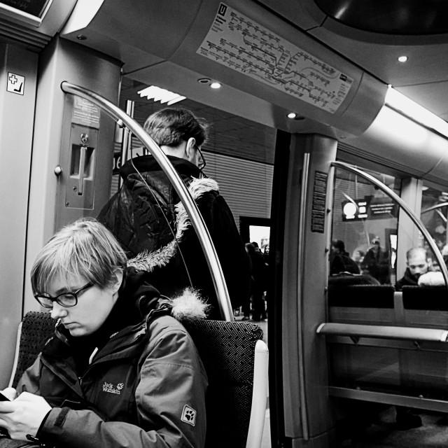 """Munich, underground train in the night"" stock image"