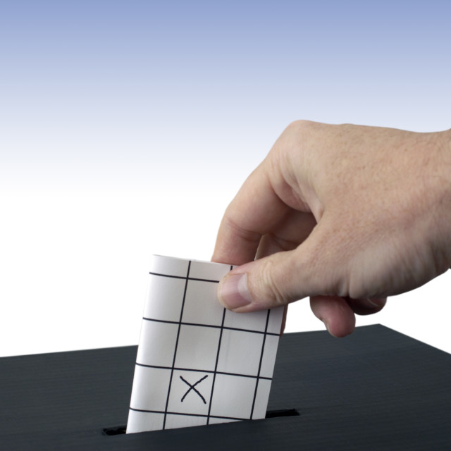 """Pacing vote in ballot box"" stock image"