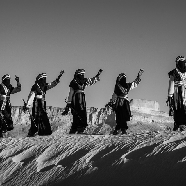 """The Libyan Tuareg in Desert ""GHAT""LIBYA Dance with Music"" stock image"