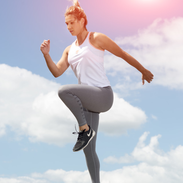 """""""fit woman running and jumping"""" stock image"""