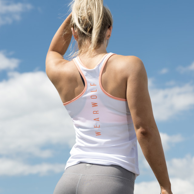 """""""fit woman wearing leggins back view"""" stock image"""