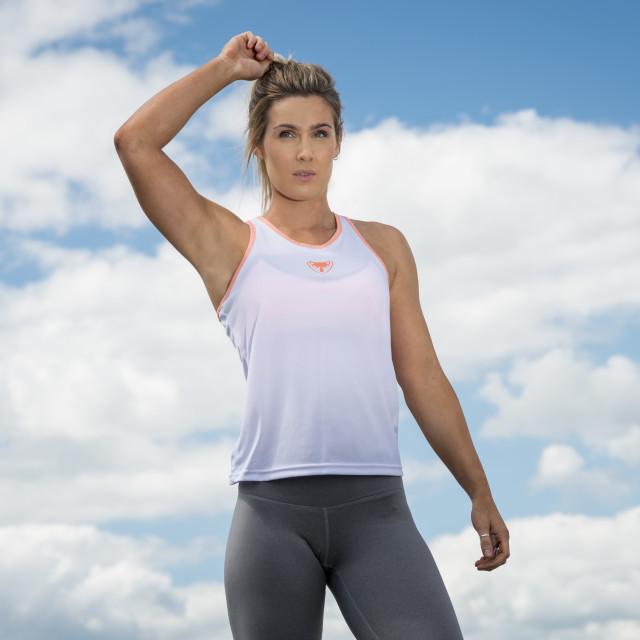 """""""fit woman wearing sportswear"""" stock image"""