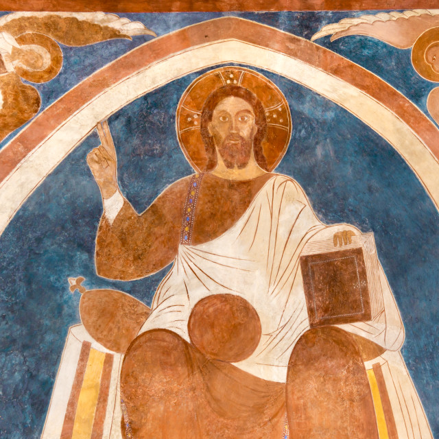 """""""Christ sitting on his trone, surrounded by the evangelists"""" stock image"""