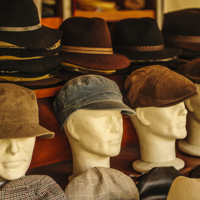 """""""Hats on Display in Morlaix Market, France"""" stock image"""