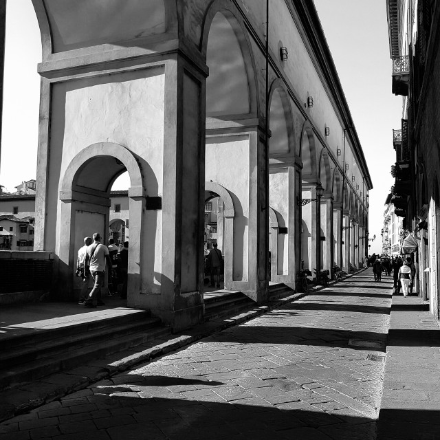 """Along the Arno in black and white"" stock image"