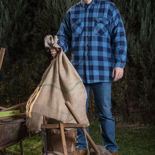"""""""young woodcutter holding jute bag full of wood"""" stock image"""