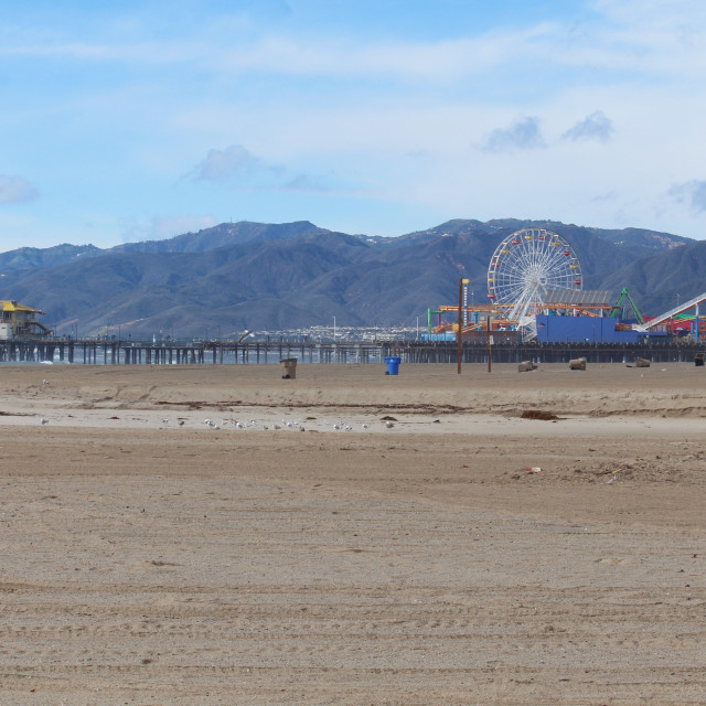 """Santa Monica Pier on windy January day"" stock image"