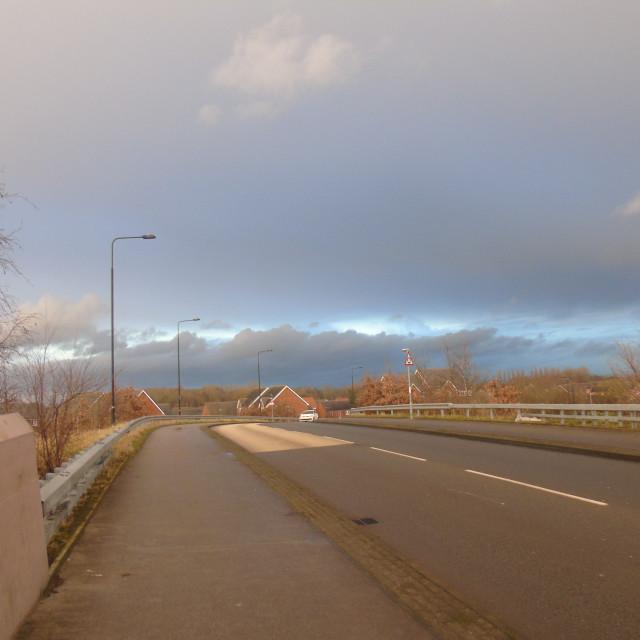 """A Road On A Railway Bridge"" stock image"