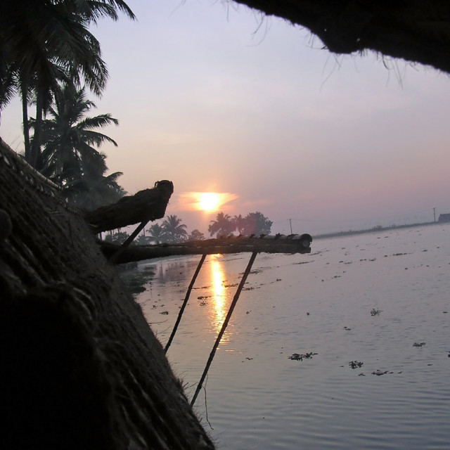 """""""View of sunrise from the window of a houseboat in Kerala, India"""" stock image"""