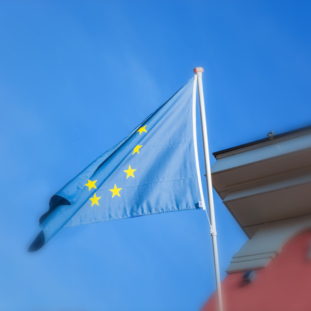 """""""EU flag in front of an old building"""" stock image"""