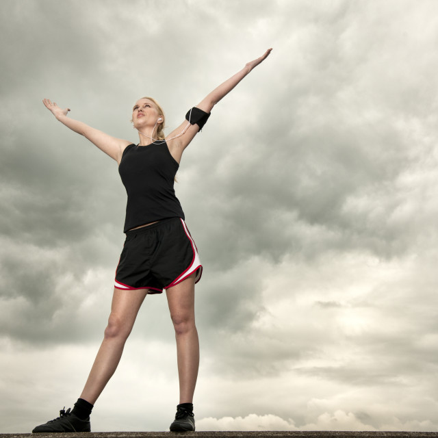 """""""woman resting after a run exercising"""" stock image"""