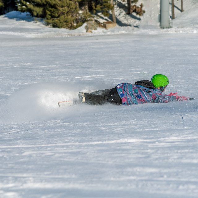 """""""Skier fell during the descent"""" stock image"""