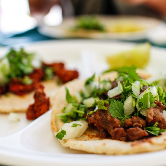 """authentic Mexican beef tacos in LA eatery"" stock image"