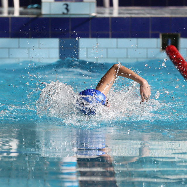 """""""Swimming competition at school"""" stock image"""