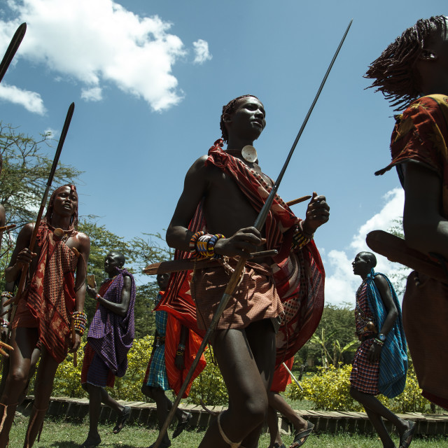 """""""Welcome Dance by Massai Warriors"""" stock image"""