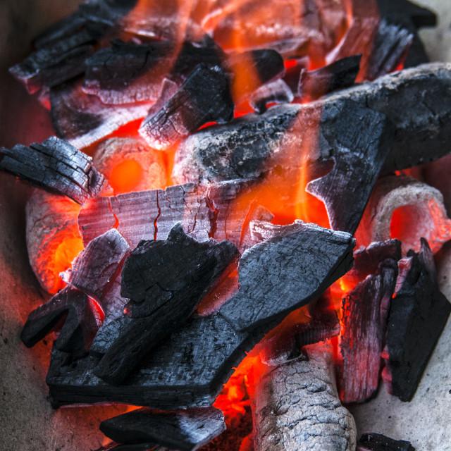 """""""Burning Charcoal"""" stock image"""