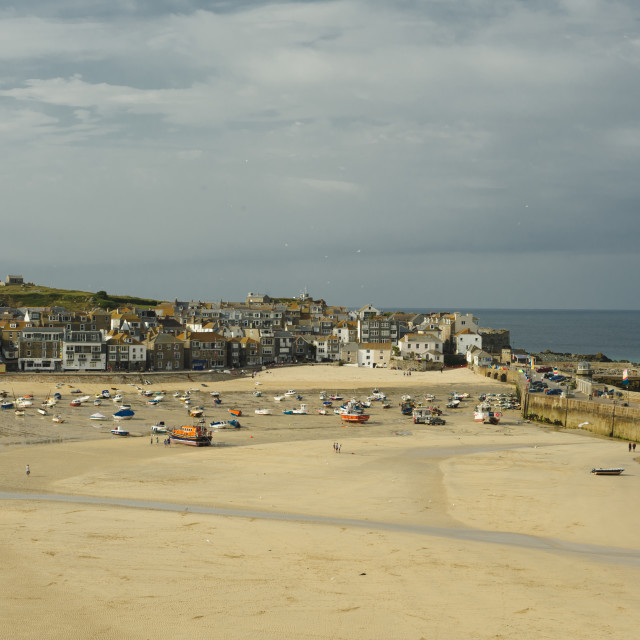 """""""St Ives Harbour, Early Evening."""" stock image"""