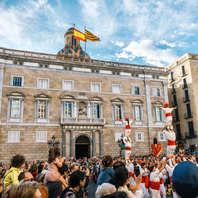 """The Castellers de Barcelona and Giant puppets on Corpus Christi"" stock image"