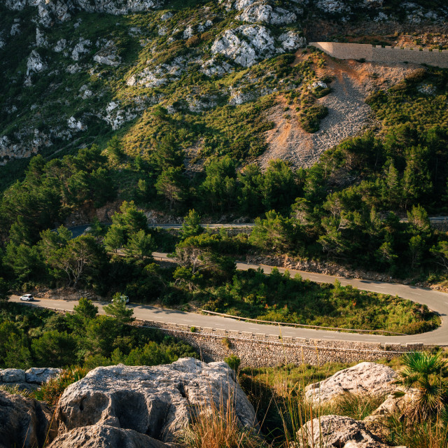 """Winding road in mountain near Cape Formentor, Mallorca, Spain"" stock image"